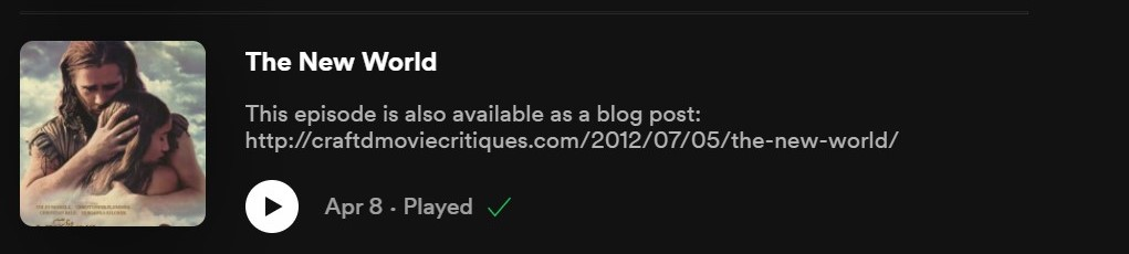 The New World spotify reviews
